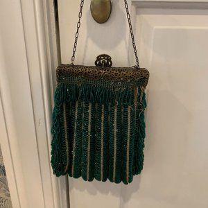 Vintage Green Beaded Cocktail Bag